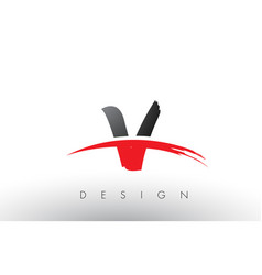 V brush logo letters with red and black swoosh vector