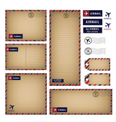 Vintage airmail stationery set vector