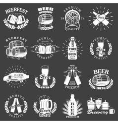 Vintage craft beer brewery emblems vector