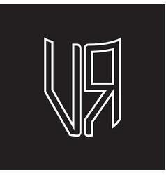 vr logo monogram with ribbon style outline design vector image