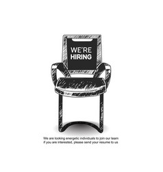 We are hiring concept design inside empty chair vector