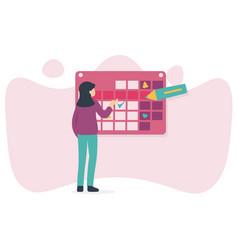 Woman and calendar marker vector