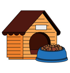 wooden dog house with food animal vector image