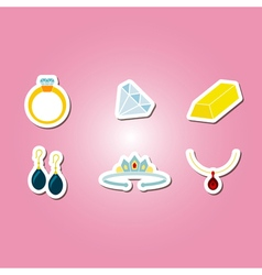 color set with jewelry icons vector image