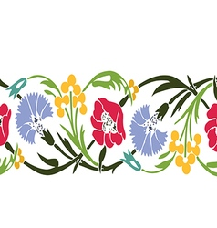 Colorful vintage wildflowers border floral vector image