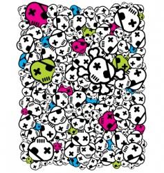 funky skulls vector image vector image