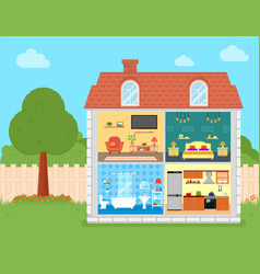 house rooms on cut with backyard vector image vector image