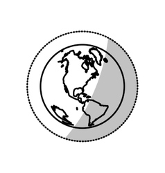 monochrome silhouette sticker with world with view vector image vector image