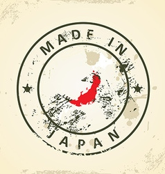 Stamp with map flag of Japan vector image