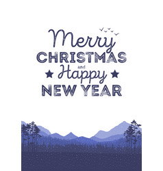 christmas landscape background with falling snow vector image vector image