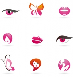 fashion and beauty icons vector image vector image