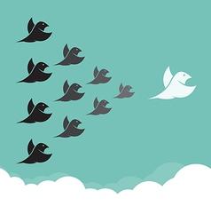 Flock of birds flying in the sky vector image