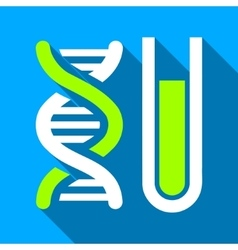 Genetic Analysis Tube Flat Long Shadow Square Icon vector image vector image