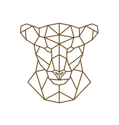 geometric head of a lioness wild animal vector image