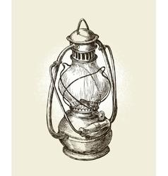 Hand-drawn vintage kerosene lamp Sketch oil vector image vector image