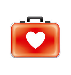 red sticker suitcase icon vector image