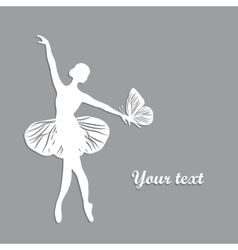 Silhouette of dancing girl with butterfliy vector image