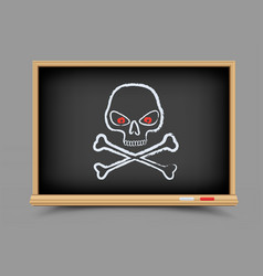 blackboard skull pirate lesson vector image vector image