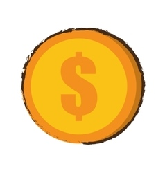 coin dollar money currency sketch vector image