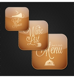 food and drinks icons vector image vector image