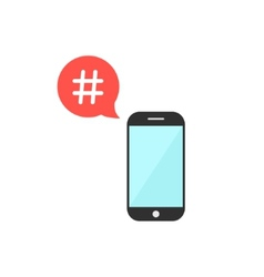 hashtag in red speech bubble with smartphone vector image vector image