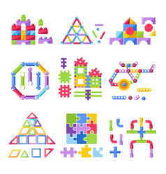 kid toy constructor building kit for children vector image