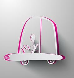 Paper Cut Man Driving Car vector image