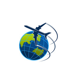 plane and globe travel or express post icon vector image vector image
