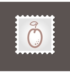 Plum stamp Outline vector image