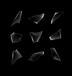 Set of broken shattered glass window pieces vector