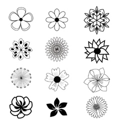 Set of flat flower icons vector image vector image