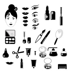 beauty and make up black icons vector image vector image
