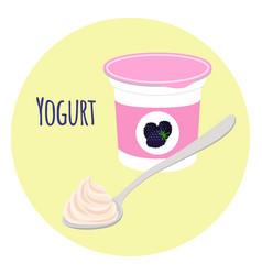 blackberry yogurt healthy milk product in plastic vector image