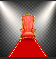 Realistic throne chair with red carpet vector