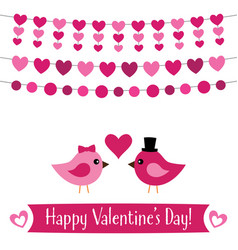 valentines day greeting card with birds vector image vector image