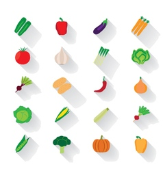 Vegetable flat icons with a shadow vector image vector image