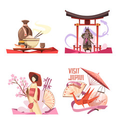 visit japan retro cartoon compositions vector image