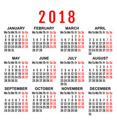 2018 year wall calendar grid template vector image