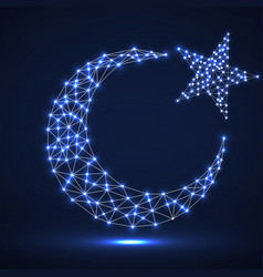 Abstract crescent moon and star vector