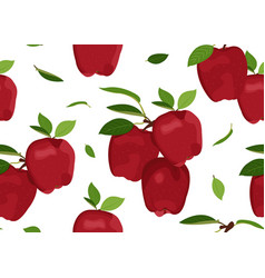 apple seamless pattern with leaves on a white vector image
