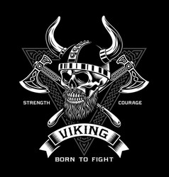 bearded viking warrior skull with crossed axes vector image