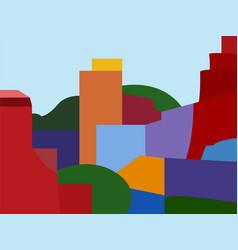 bright geometric houses vector image