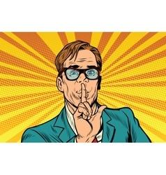 Businessman gesture Shh silence vector