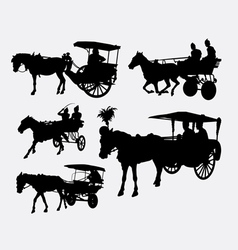 Carriage with horse animal silhouette vector
