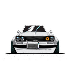 Cartoon japan tuned old car isolated vector