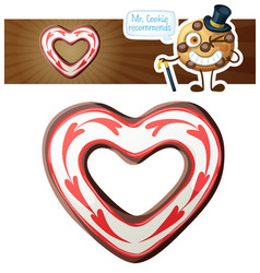 chocolate heart cookie vector image
