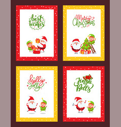christmas set cards with cartoon characters vector image