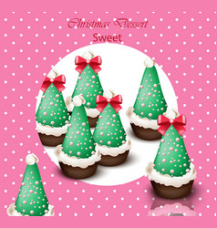 christmas tree cupcakes card retro dotted vector image