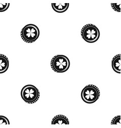 coin with clover sign pattern seamless black vector image