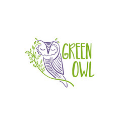 Concept owl with branch and leaf design vector